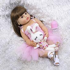 Силіконова колекційна лялька Reborn Doll 55 см Дівчинка Моніка (198), фото 2
