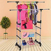 Вешалка для одежды напольная, двойная с 3 отделами для обуви, телескопическая стойка для вещей