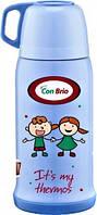 Термос детский вакуумный 0,5 л из нержавеющей стали, питьевой голубой с чашкой СВ346 CON BRIO