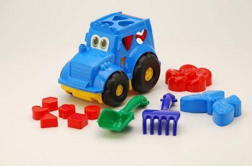 Сортер-трактор з пісочним набором Colorplast Коник №2 Синій (TOY-22840), фото 2