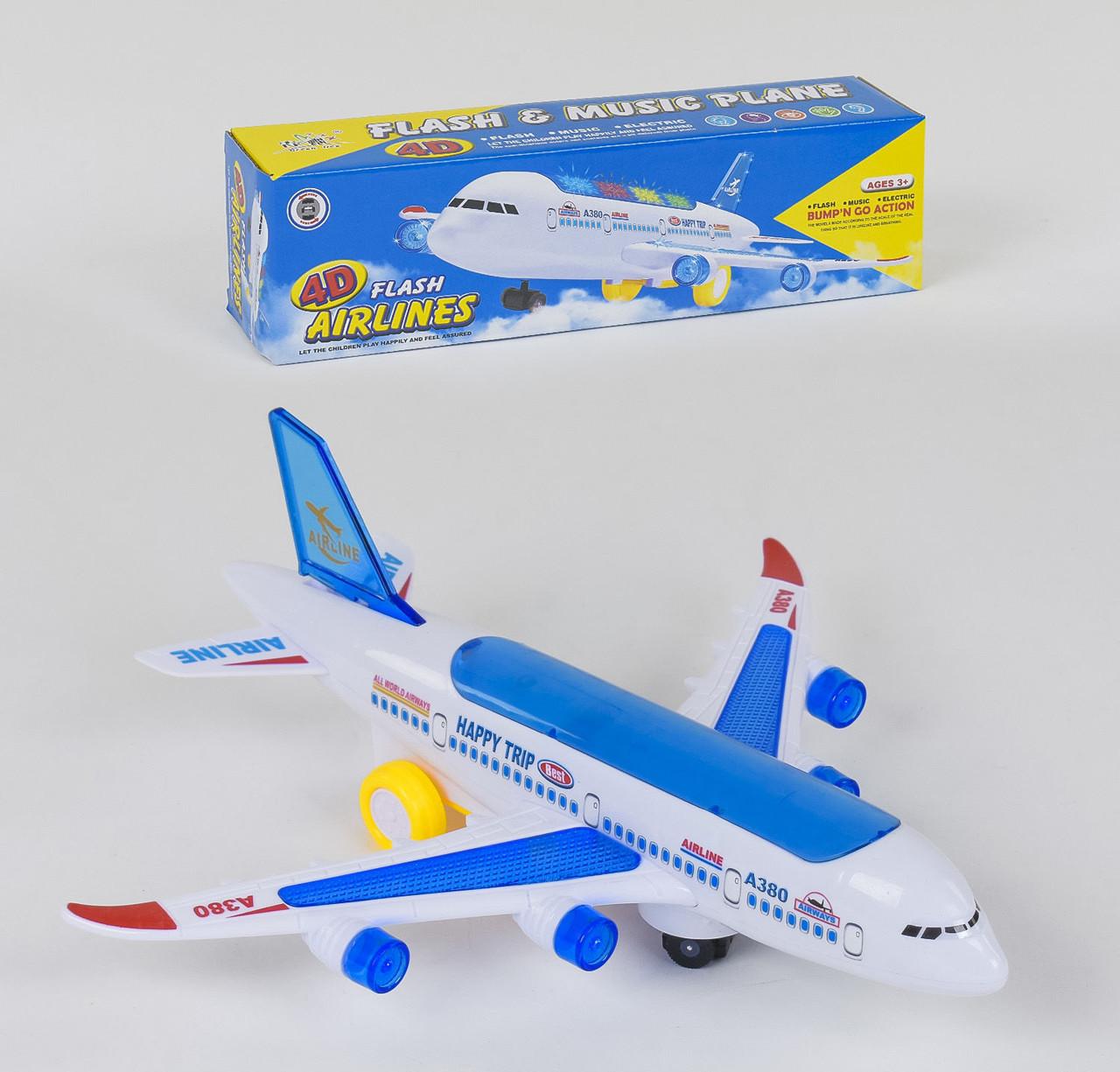 Самолет на батарейках Small Toys А 380-600 со светом и звуком Белый с синим (2-78899)