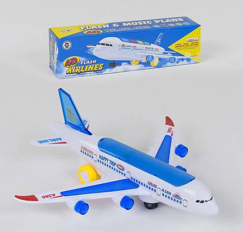 Самолет на батарейках Small Toys А 380-600 со светом и звуком Белый с синим (2-78899), фото 2