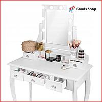 Cтолик косметический с зеркалом и табуретом белый Bonro B-065L Стол туалетный с подсветкой выдвижными ящиками