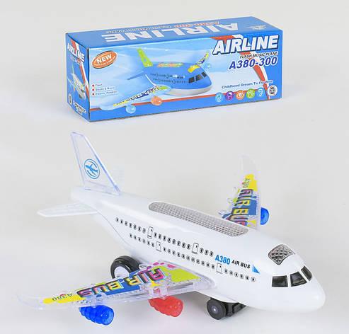 Літак на батарейках Small Toys А 380-300 зі світлом і звуком Білий (2-79796), фото 2