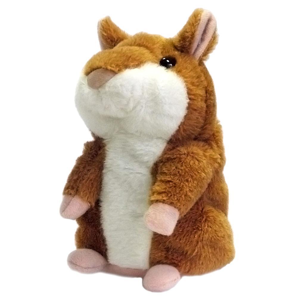 Интерактивная игрушка говорящий хомяк - повторюшка мягкая игрушка Коричневый (R0313)
