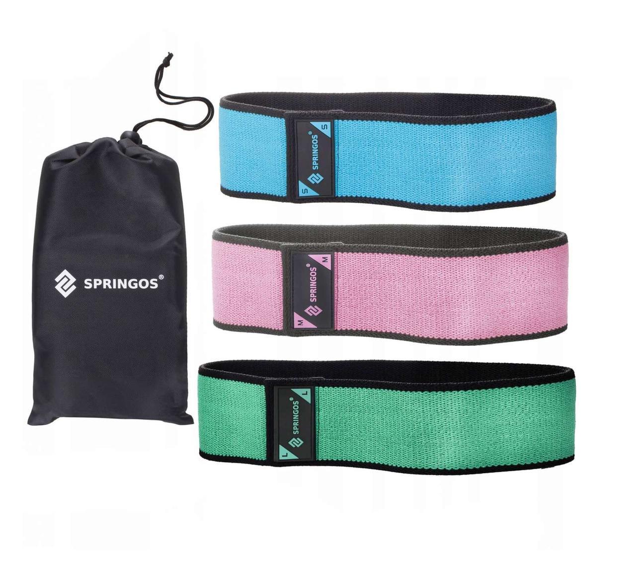 Резинка для фитнеса и спорта тканевая Springos Hip Band 3 шт (238143)
