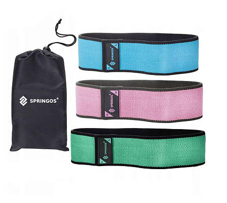 Резинка для фитнеса и спорта тканевая Springos Hip Band 3 шт (238143), фото 2