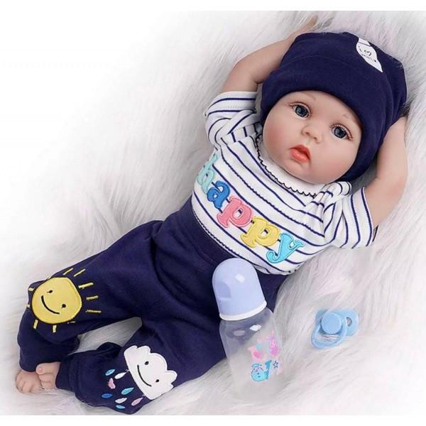 Силіконова колекційна лялька Reborn Doll Хлопчик Вовочка 55 см (200)