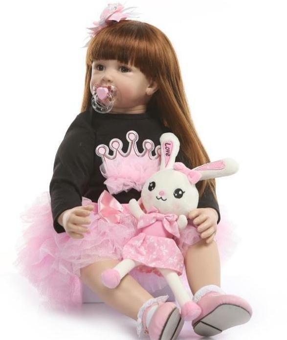Силиконовая коллекционная кукла Reborn Doll девочка Карина 60 см (172)