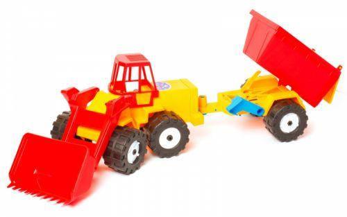 Трактор Шустрик скрапер причіп №2 Бамсик Червоний (TOY-22503), фото 2