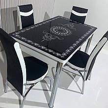 64-039 Стіл розкладний зі скла і 4 стільці