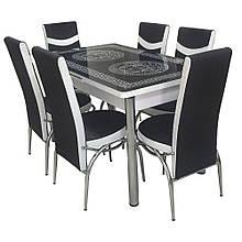 6-032 Стіл розкладний зі скла і 6 стільців
