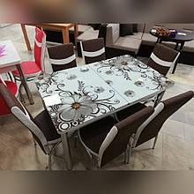6-020 Стіл розкладний зі скла і 6 стільців