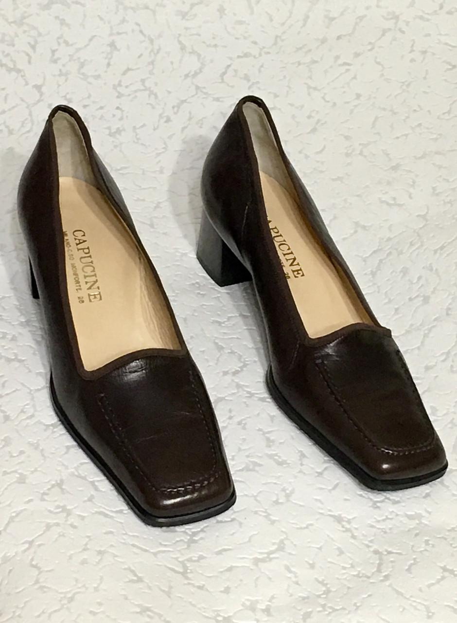Кожаные стильные деловые женские Туфли на низком каблуке 38 размер