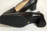 Кожаные стильные деловые женские Туфли на низком каблуке 38 размер, фото 10