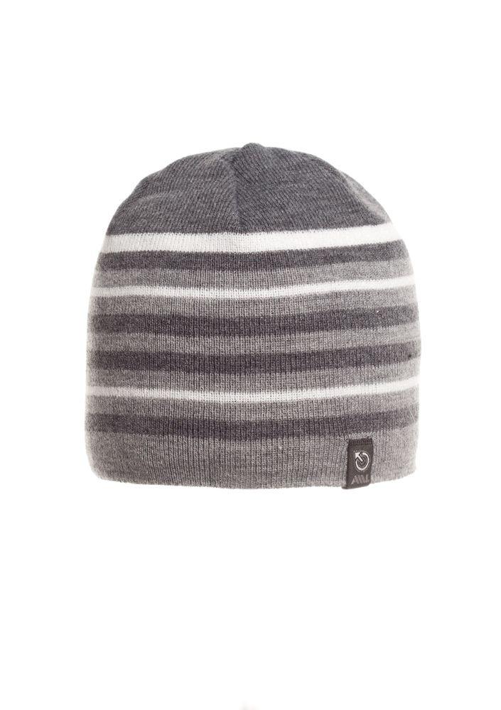 Красивая удобная теплая мужская  шапка в полоску.