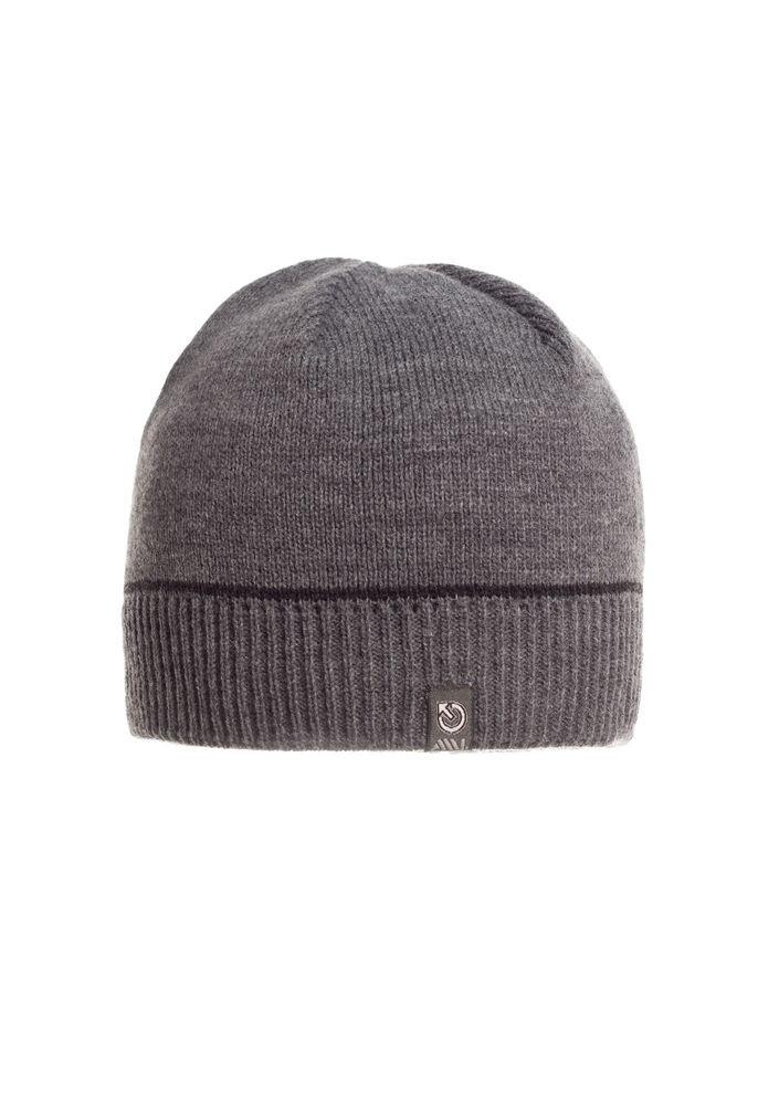 Красивая теплая практичная мужская  шапка, серая.
