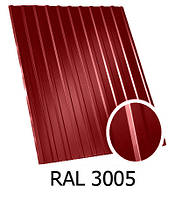 Профнастил ПС-12 вишневый 3005 1,17х1,5