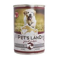 Корм Pet's land dog вологий junior зі смаком яловичини та баранини 415г (5999563942535)