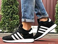 Кросівки чоловічі в стилі Adidas Iniki чорно білі (зима)