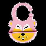 Слюнявчик силиконовый Zupo Crafts розовый, фото 2
