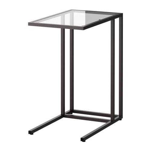 ИКЕА (IKEA) ВИТШЁ, 002.502.49, Стол д/ноутбука, черно-коричневый, Стекло, 35x65 см - ТОП ПРОДАЖ