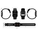 Смарт-часы HerzBand M2 с измерением кислорода в крови и спорт функциями - Черный, фото 6