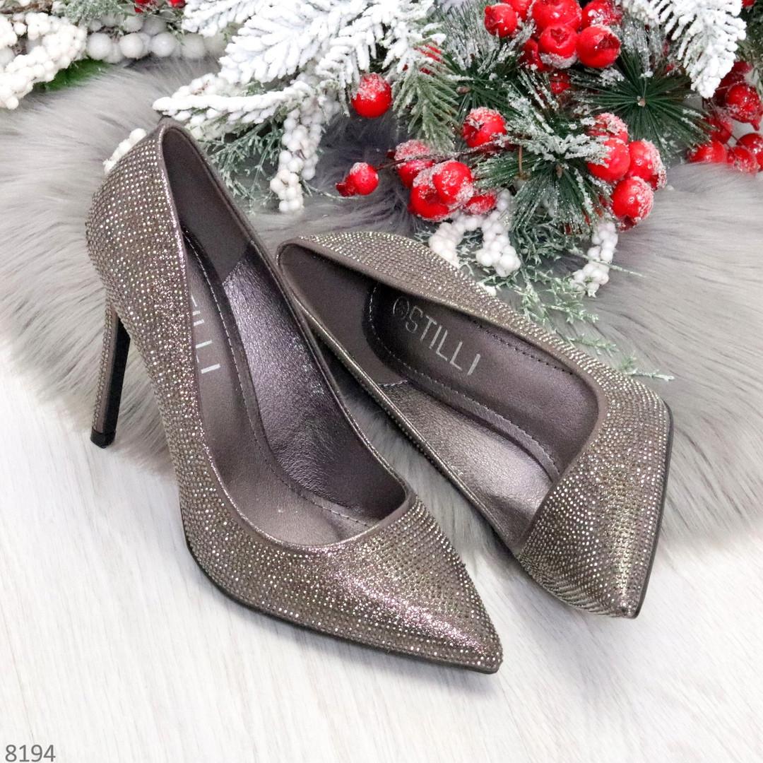 Роскошные графитовые серебристые женские туфли шпилька на праздник