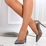 Роскошные графитовые серебристые женские туфли шпилька на праздник, фото 2
