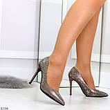 Роскошные графитовые серебристые женские туфли шпилька на праздник, фото 3