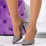 Роскошные графитовые серебристые женские туфли шпилька на праздник, фото 6