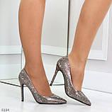 Роскошные графитовые серебристые женские туфли шпилька на праздник, фото 7