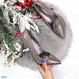 Роскошные графитовые серебристые женские туфли шпилька на праздник, фото 8