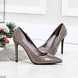 Роскошные графитовые серебристые женские туфли шпилька на праздник, фото 9