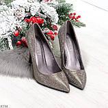 Роскошные графитовые серебристые женские туфли шпилька на праздник, фото 10