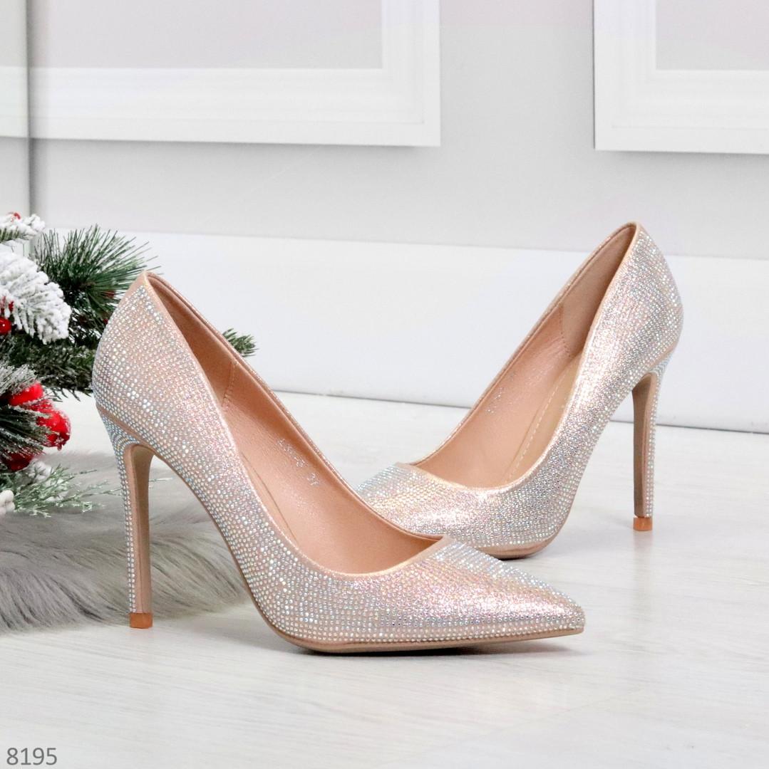 Роскошные жемчужные розовые женские туфли шпилька на праздник