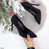 Роскошные сверкающие черные женские туфли шпилька на праздник