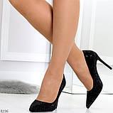 Роскошные сверкающие черные женские туфли шпилька на праздник, фото 3
