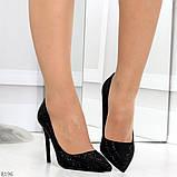 Роскошные сверкающие черные женские туфли шпилька на праздник, фото 4