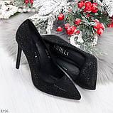 Роскошные сверкающие черные женские туфли шпилька на праздник, фото 6