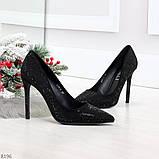 Роскошные сверкающие черные женские туфли шпилька на праздник, фото 8