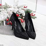 Роскошные сверкающие черные женские туфли шпилька на праздник, фото 10