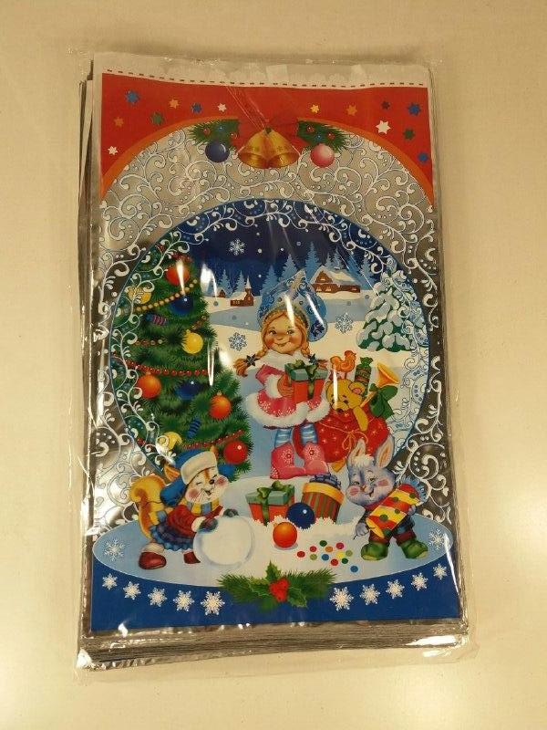 Новогодние пакеты для конфет и подарков (25*40) Снегурочка с подарком, 100 шт\пач
