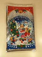 Новогодние пакеты для конфет и подарков (25*40) Снегурочка с подарком, 100 шт\пач, фото 1