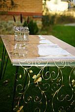 Прозрачное Мягкое стекло с лазерным рисунком  золотых завитков, ширина рулона 60 см, фото 2