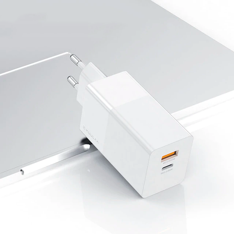 Зарядний KUULAA GaN QC4.0 Type-C+USB 65W EU white, фото 2