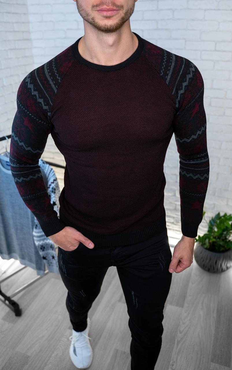 Мужской джемпер темно-бордовый с рисунком/ Турция Бордовый, L