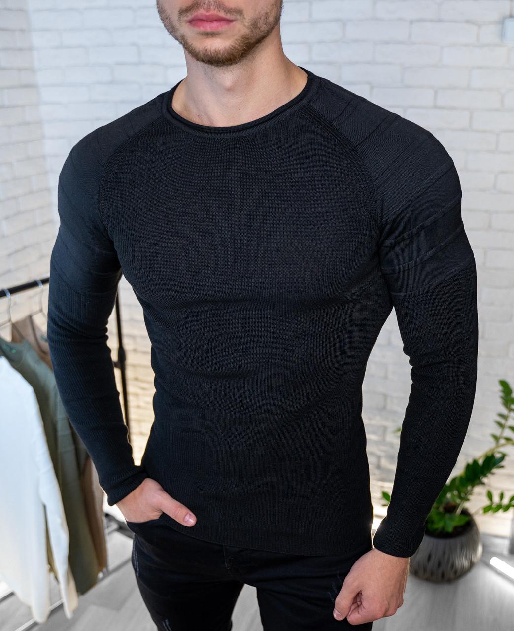 Мужской свитер приталенный  Бежевый / Турция Черный, S