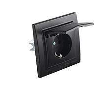 Розетка з кришкою Бездоганний графіт Enzo 16A IP22 ElectroHouse EH-2116-PG