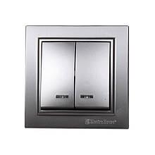 Выключатель с подсветкой двойной Серебряный камень Enzo IP22 ElectroHouse EH-2184-ST